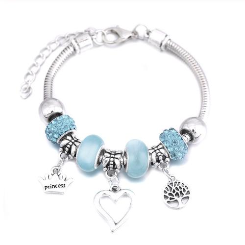 Charm Bracelet Snake Chain Open Heart Princess Crown Tree Of Life